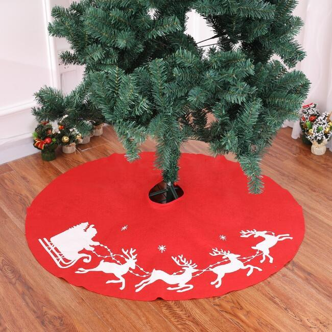 100cm rouge jupes de sapin de Noël DIY non-tissés tissus tabliers d'arbre de Noël couvre-tapis décorations d'arbre de Noël