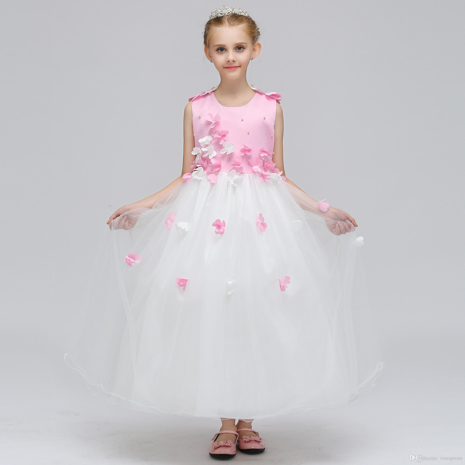 2018 Cap Sleeve Lace Flower Girls Abiti Due pezzi Tulle Lovely Little Kids Gonne Tea Princess Princess Comunione Abiti di compleanno