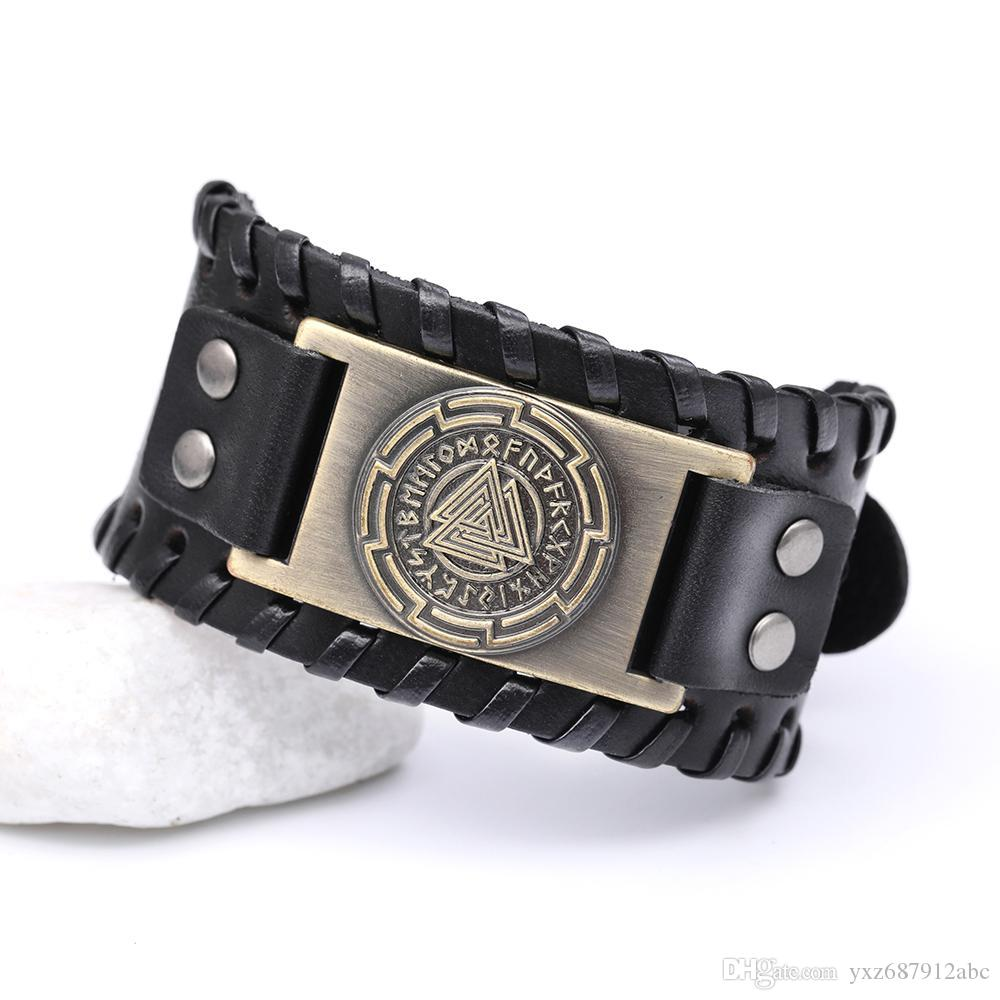 Drop Shipping Odin 24 İskandinav Runes Slav Muska Sigil Bilezik Mens Geniş Deri Bilezik Viking Avrupa Tasarımcı Bilezik