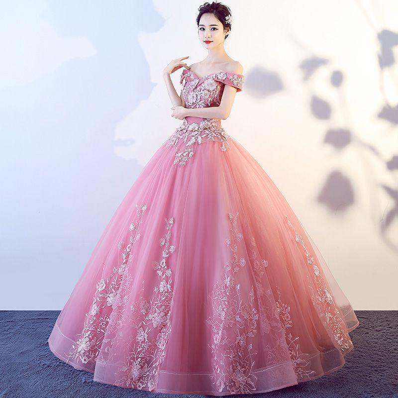 Compre Vestidos De Quinceañera Rosa Real Dulce 16 Vestidos Para 15 Años De Bata De Baile Vestidos De Baile Vestidos De 15 Años De Vestidos De