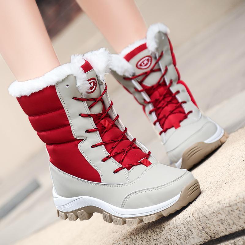 Mode Femmes Bottes D'hiver Non-slip Imperméable Bottes De Neige Filles Casual Plate-forme Cheville Chaussures avec Doublure De Fourrure Épaisse botas mujer