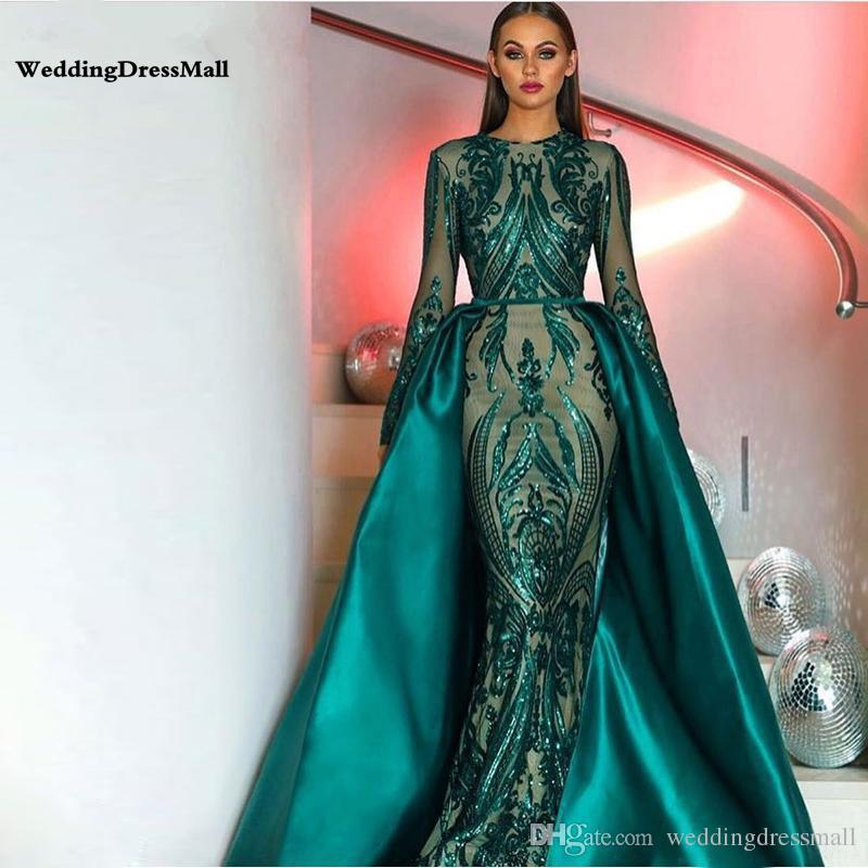 Vestiti Da Sposa Del Marocco.Acquista Elegante Abito Da Sera Manica Lunga Verde Musulmano 2019