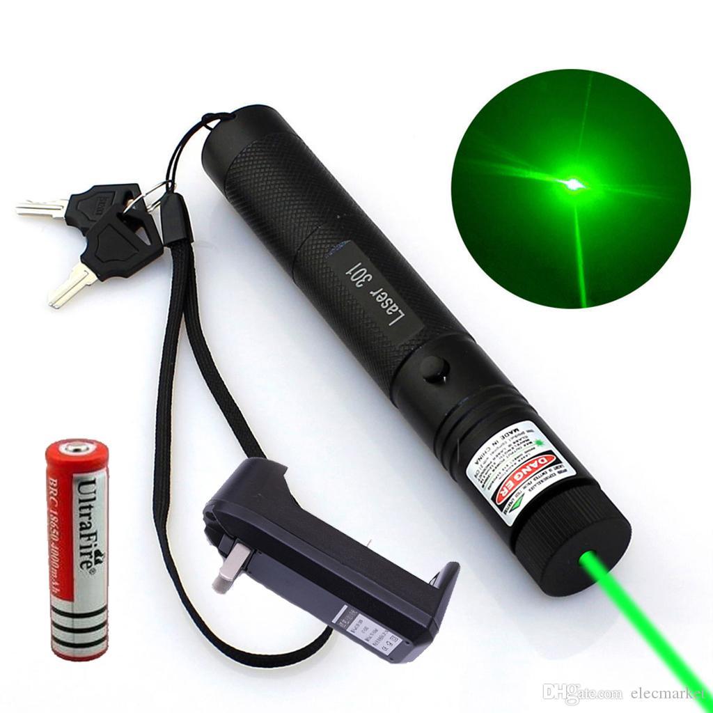 10 마일 군사 녹색 레이저 포인터 펜 5mw 532nm 강력한 고양이 장난감 + 18650 배터리 + 충전기