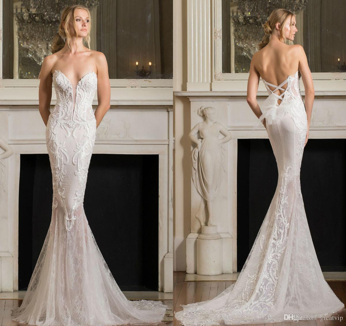 Pnina Tornai 2019 Mermaid Wedding Dresses V Neck Backless Lace 3D Applique Sequins Long Sleeve Sweep Train Beach Bridal Gowns Robe De Mariée