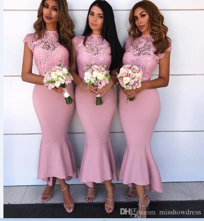 Fuchsia Cap Sleeves Satin Mermaid High Low Bridesmaid Dresses Lace Applique Bohemian Wedding Guest Party Maid Of Honor Dresses BM0930