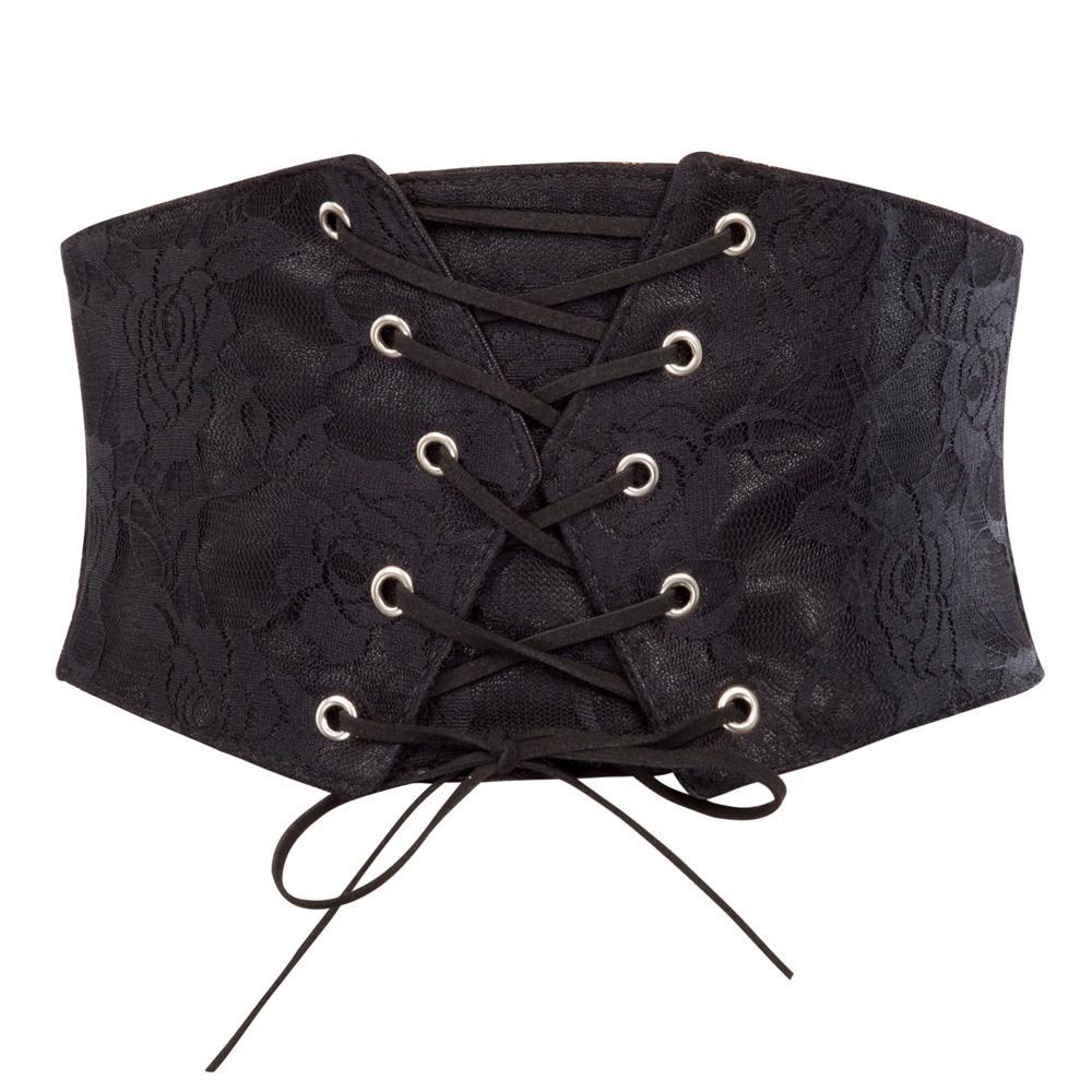 2018 Yenilik Vintage kadın Elastik Geniş Kemer Gerilmiş Korse Kadın Siyah Cincher Kemer Kemerler Lady Elbise Aksesuarları için