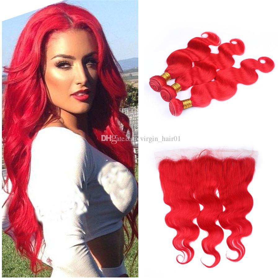 붉은 색 인간의 머리카락 13x4 전체 레이스 정면 폐쇄 (직조 포함) 바디 웨이브 버진 브라질의 빨간 머리 Wefts 3 번들 특별 우대
