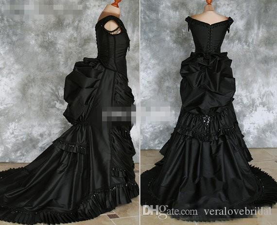 Black Gothic Abiti da sposa 2018 Off Spalla Ruffles Crystals Satin Cappella Treno Costume Dress Pizzo Victorian Abiti da sposa personalizzati