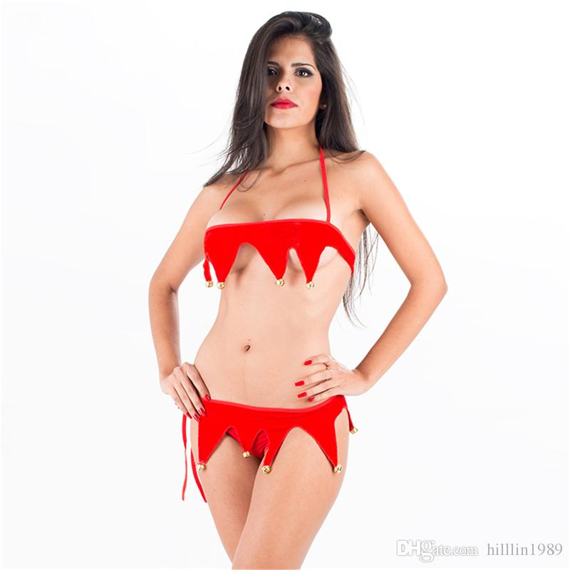Sexy Red Jingle Bell Bikini Lingerie for Women Christmas Theme Costume Halter Santa Claus Cosplay Uniform Erotic Valentine Club Wear