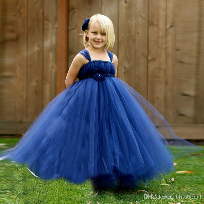 Cheaper Blue Tulle Flower Girls Dresses Layers Ruffle Spaghetti Kids Formal Party Dresses Floor Length Graduation Wear
