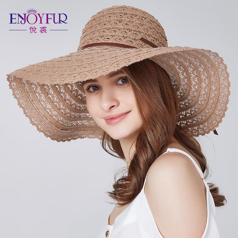 ENJOYFUR Women Summer Hat Foldable Sun Hats Beach Caps For Vacation Breathable Straw Hats For Summer Women S18101708