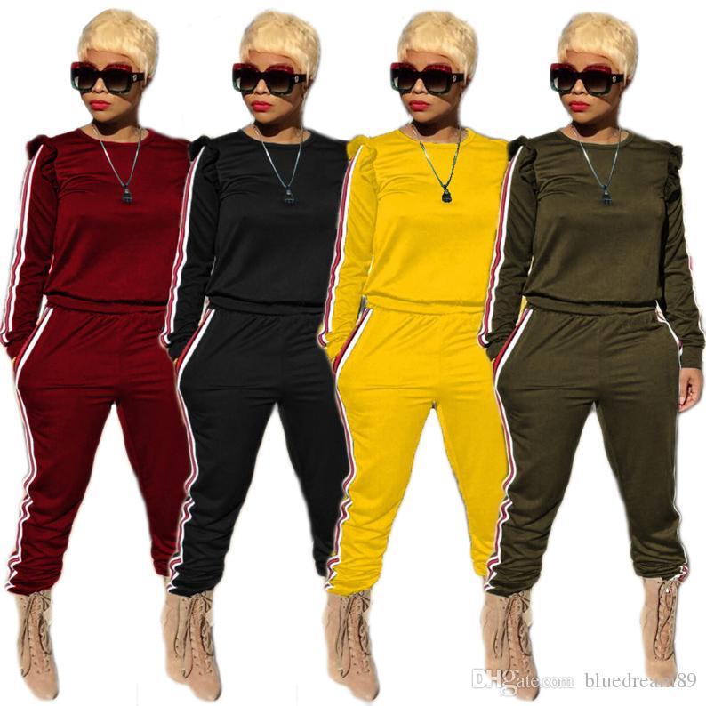 (shirt + pants)fashion tracksuit women sweat suits personality ribbon clothes sport women jogging track pants sportswear sweatsuit