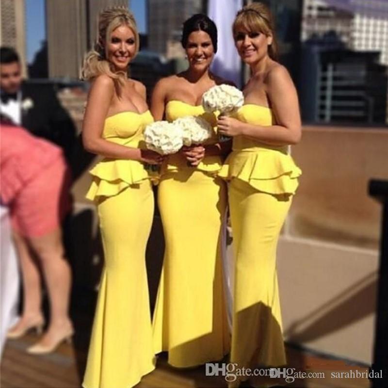 Vestidos de dama de honra da imagem real elegante personalizados Customed Long Sweetheart Bridguíneas BridesMAIDs Dressmaids Daffodil Noite Vestidos de festa de baile à venda