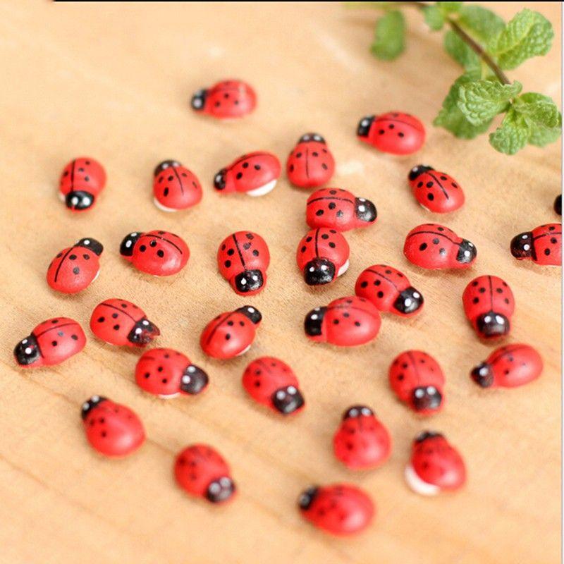 Jardín de hadas Decoración Insectos Mariquitas autoadhesivas Macetas de plantas en miniatura Bonsai Artesanía Animales Micro Paisaje Decoración DIY Mini Ladybug