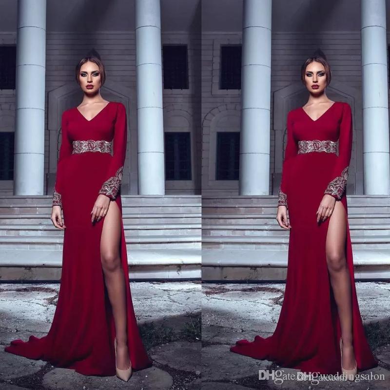 Темно-красные русалочные вечерние платья с длинными рукавами и V-образным вырезом с бисером и блестками Вечернее платье из эластичного атласа