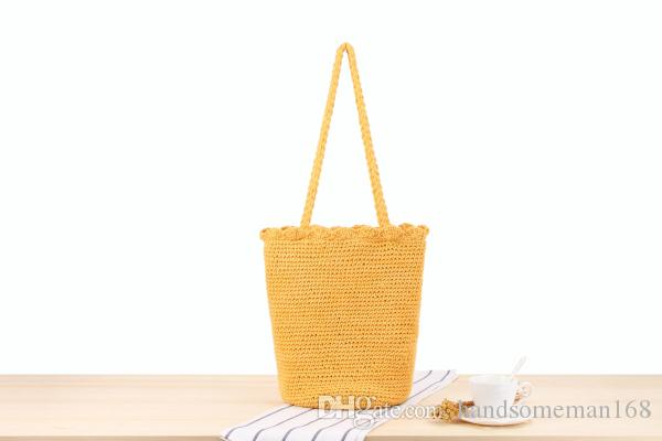 Joker one-shoulder woven bag hand hook cotton rope hand fashion bag mention holiday beach leisure bag