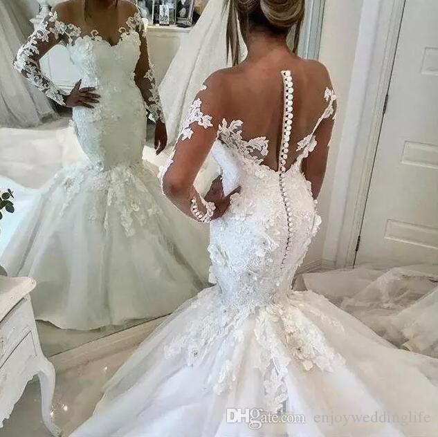2019 elegante sereia vestidos de casamento com manga longa modesta 3d floral sheer back trumpet igreja real vestidos de casamento de trem