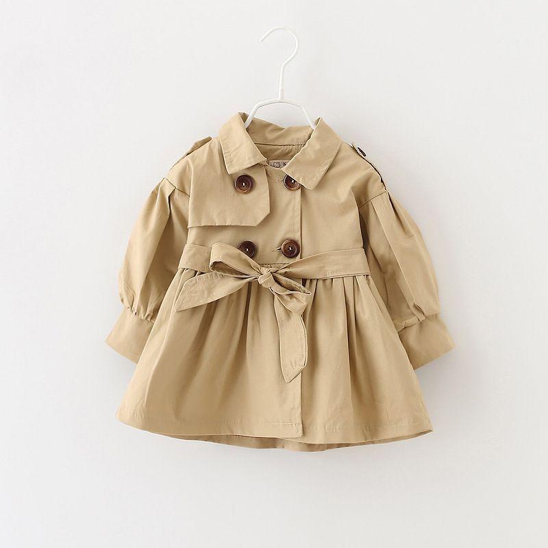 Niedlichen Baby Mädchen Kausalen Trenchcoat Feste Gürtel Europäischen Stil Mantel Für 9-36 Mt Babys Neugeborenen Säuglingsoberbekleidung Mantel Kleidung heiß
