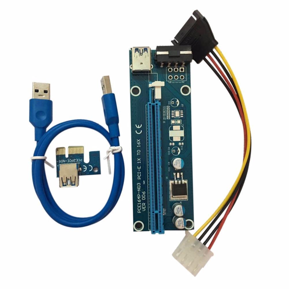 Freeshipping PCI-E PCI Express الناهض بطاقة 1x إلى 16x كابل بيانات usb 3.0 sata إلى 4pin ide موليكس سلك الطاقة التموين ل btc مينر آلة