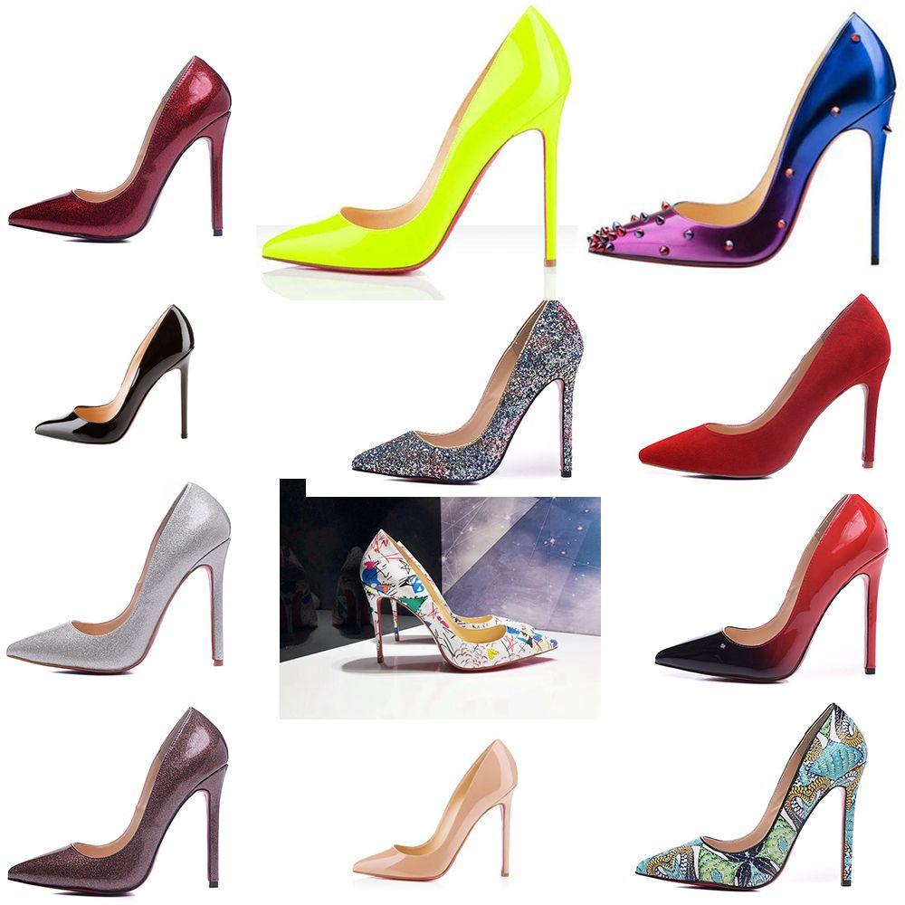 Marka Yeni Tasarımcı Klasik Kadınlar Kırmızı Dipleri Yüksek Topuklar Patent Deri sivri Burun Elbise Ayakkabı Lüks Sığ Ağız Kırmızı Sole Düğün ...