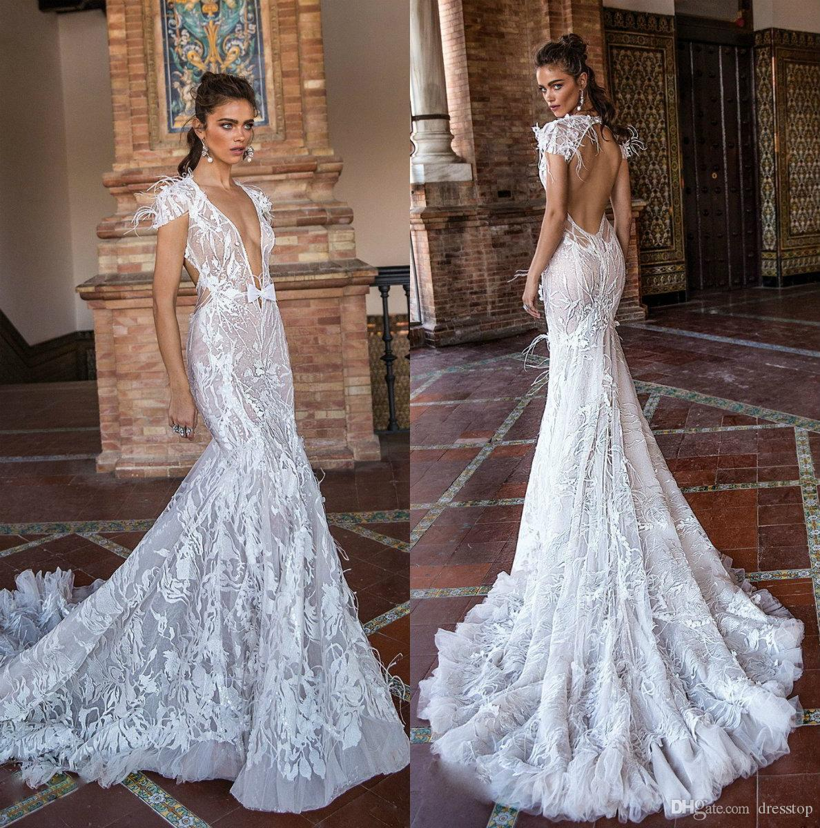 Berta 2019 Mermaid Wedding Dresses V Neck Backless Lace Bridal Gowns With  Feathers Sweep Train Beach Wedding Dress Mermaid Dresses Wedding Mermaid