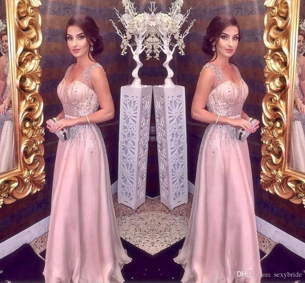 großhandel elegante erröten rosa abendkleider lange 2020 a line sexy straps  mit v ausschnitt haupt friesen prom partei roter teppich kleid mädchen