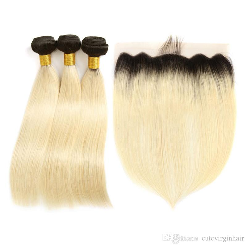 T1B 613 Blonde Ombre Weave Bundles With Frontal Brazilian Virgin Human Hair 3 Bundles With 13*4 Free Part Lace Frontal For Black Women