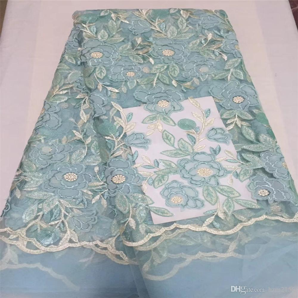 Online Cheap Latest African Light Blue Embroidered French Lace ...