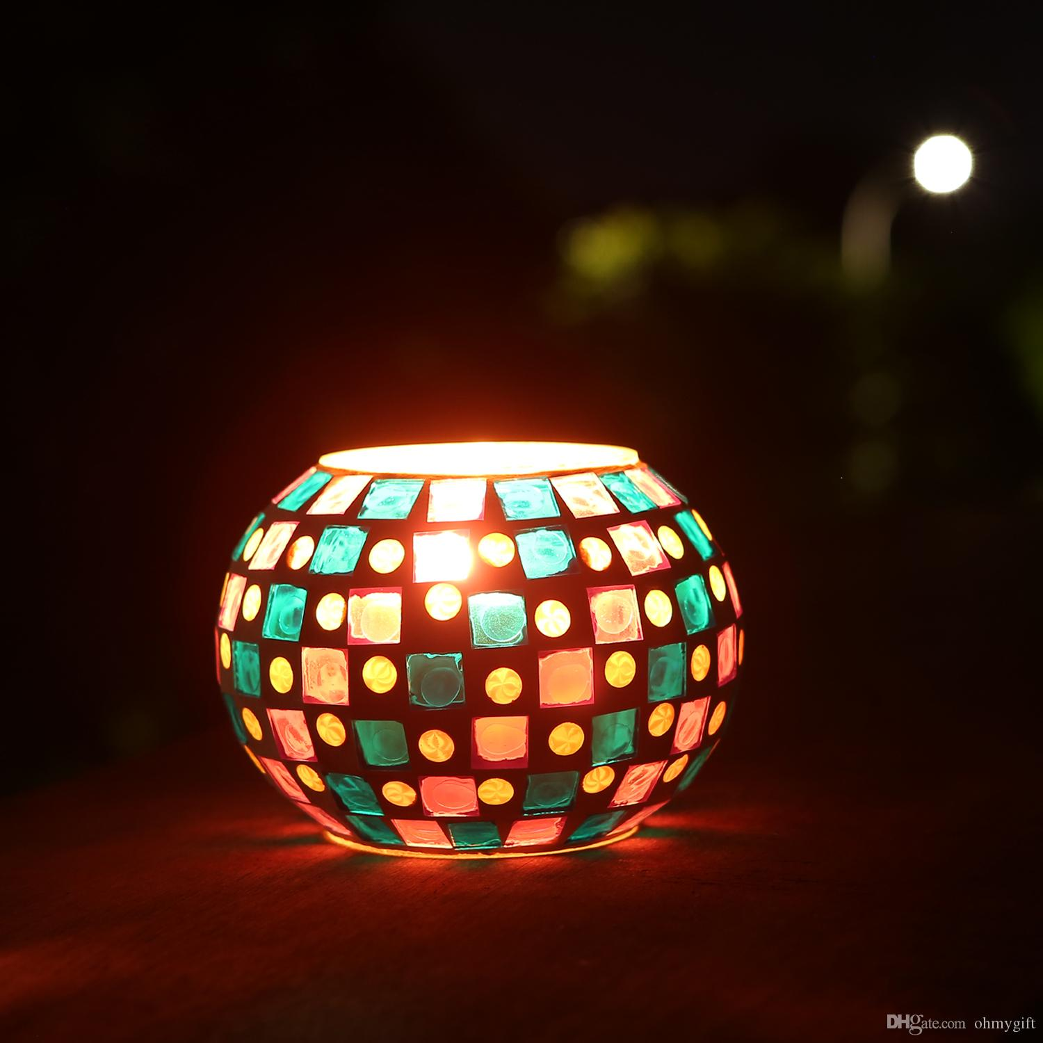 Magicnight Color Changing Mosaic Solar Table Light, Glass Bowl Small Disco Globe Ball Night Lamp for Garden Patio Porch
