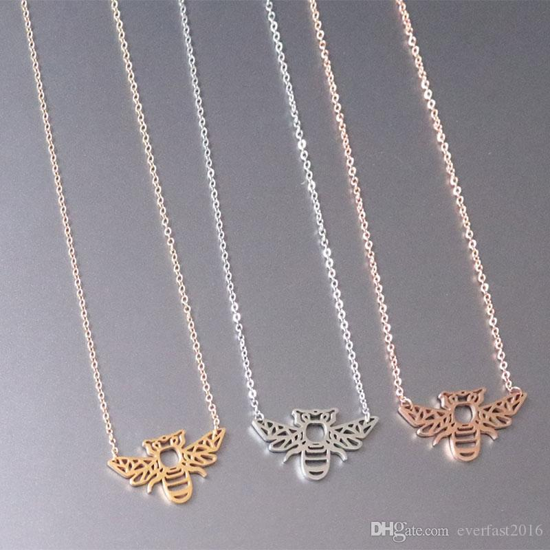 High Quality Origami Bugs Bee Pendants Necklace Big Honeybee Stainless Steel Charms Chokers Necklaces Women Girls Kids Loved Gift
