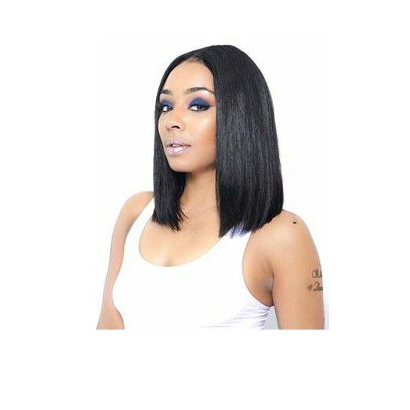 orta kısmı ile yeni varış kısa bob ipeksi düz peruk Brezilyalı Saç simülasyon insan saçı bob düz peruk