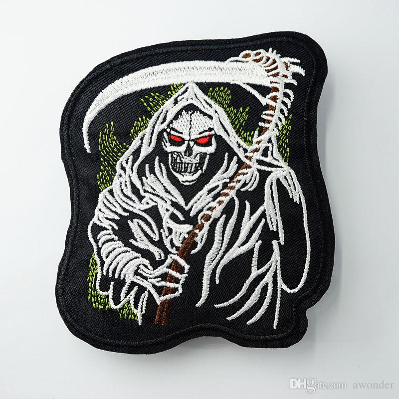 Death Skull Embroidery Patches Sew Iron On Applique Patch Hippie Punk Badges Clothes Jeans Accessories Hat Bag DIY Stickers