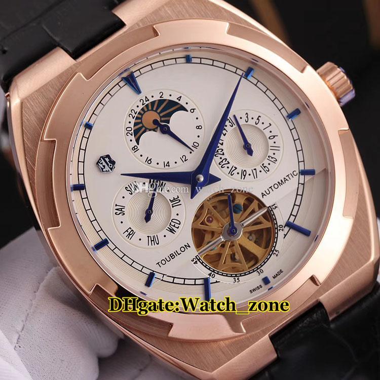 43mm outre-mer Daydate cadran blanc phase de lune montre automatique tourbillon mens bracelet en cuir rose bracelet en cuir pas cher nouvelles montres