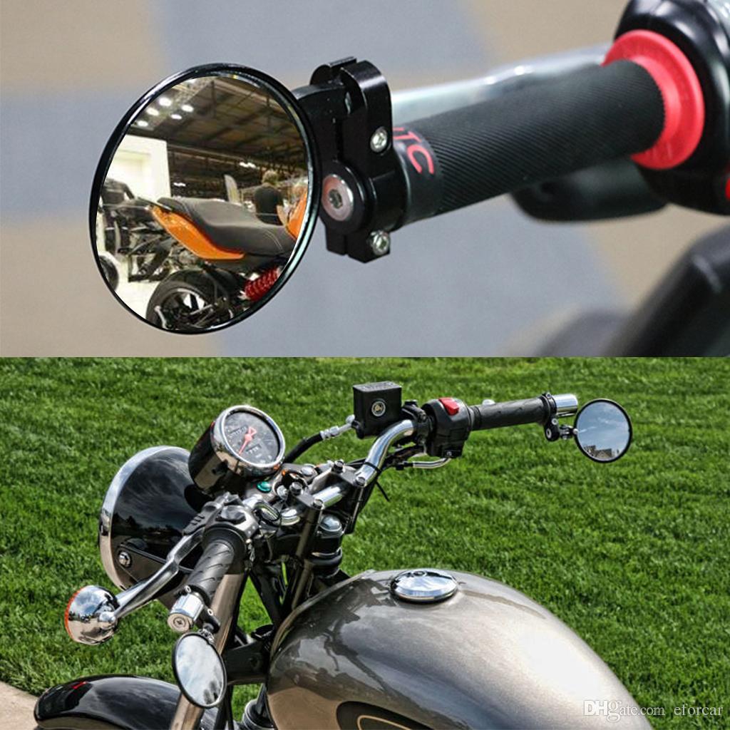 Alta Qualit/à Nero Rotondo Alluminio Moto Pieghevole Specchietti Manubrio