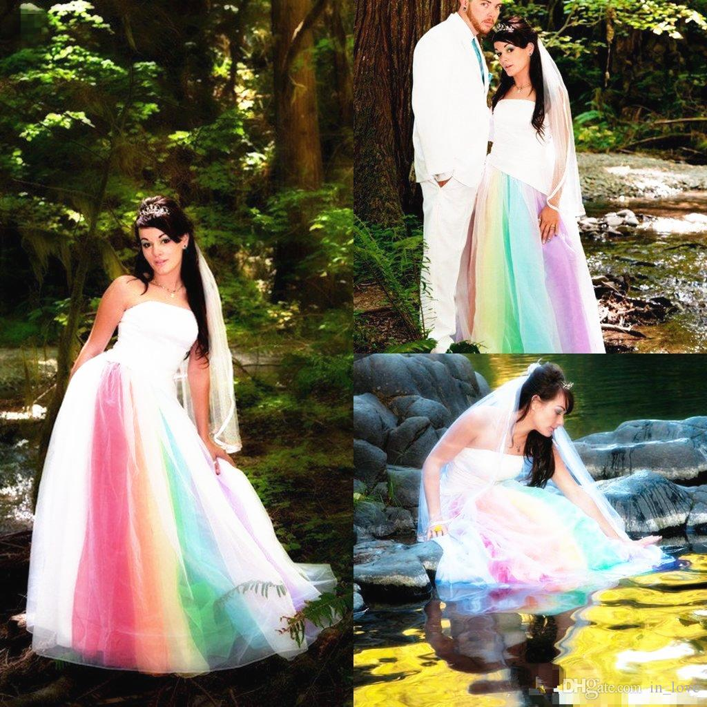 discount 2019 newest outdoor rainbow wedding dress strapless satin tulle  floor length a line long colorful bridal gowns romantic custom made wedding
