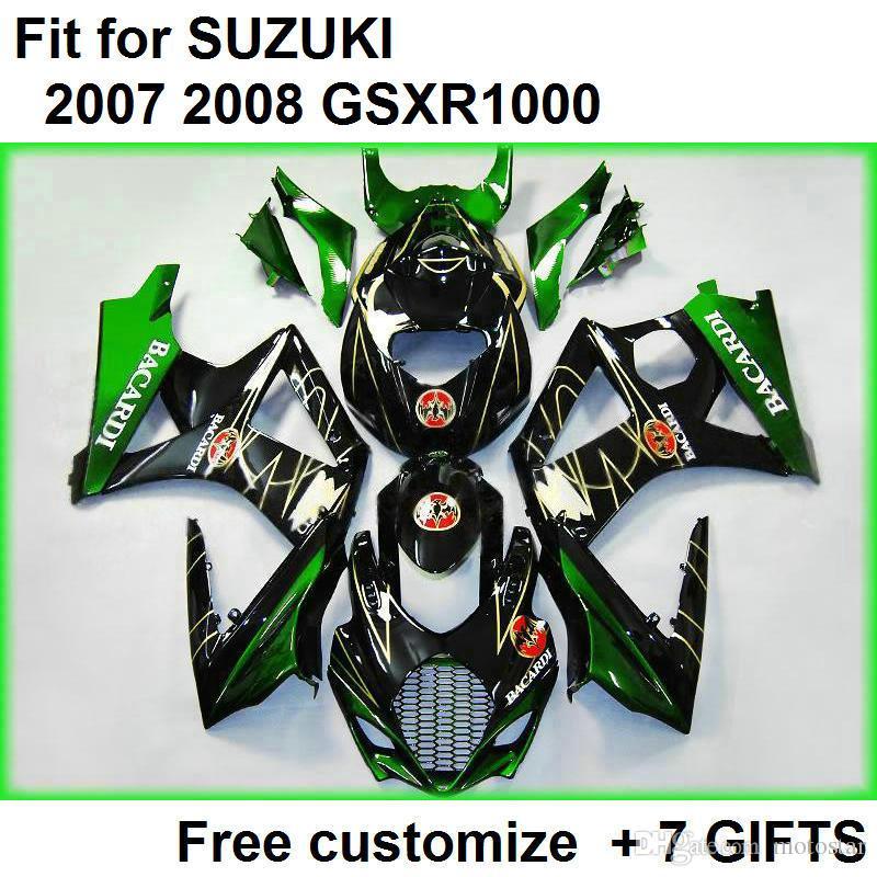 Bezpłatny niestandardowy zestaw do błództwa dla SUZUKI GSXR1000 07 08 Zielone czarne wróżki Zestaw GSXR1000 2007 2008 RR56