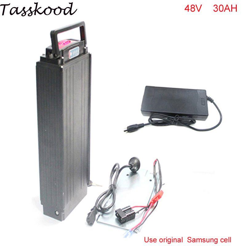 Gepäckträger 48v 30ah 1000w Bafang bbs03 Lithium-Ionen-Batterie für Elektro-Fahrrad mit Power-Leuchten + Rückleuchten für Samsung-Handy