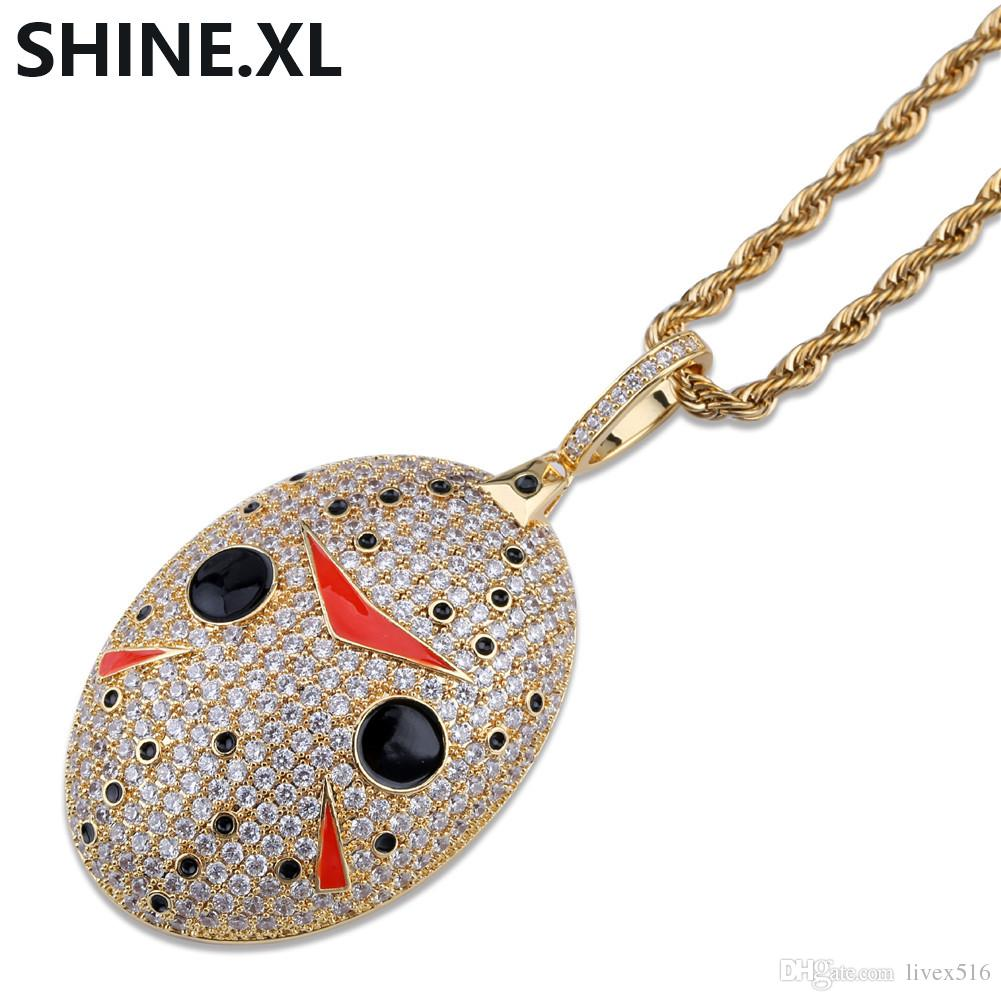 Collana ciondolo Ghoul Jack color oro Collana Hip Hop Iced Out con zirconi cubici Bling Halloween Party Gifts