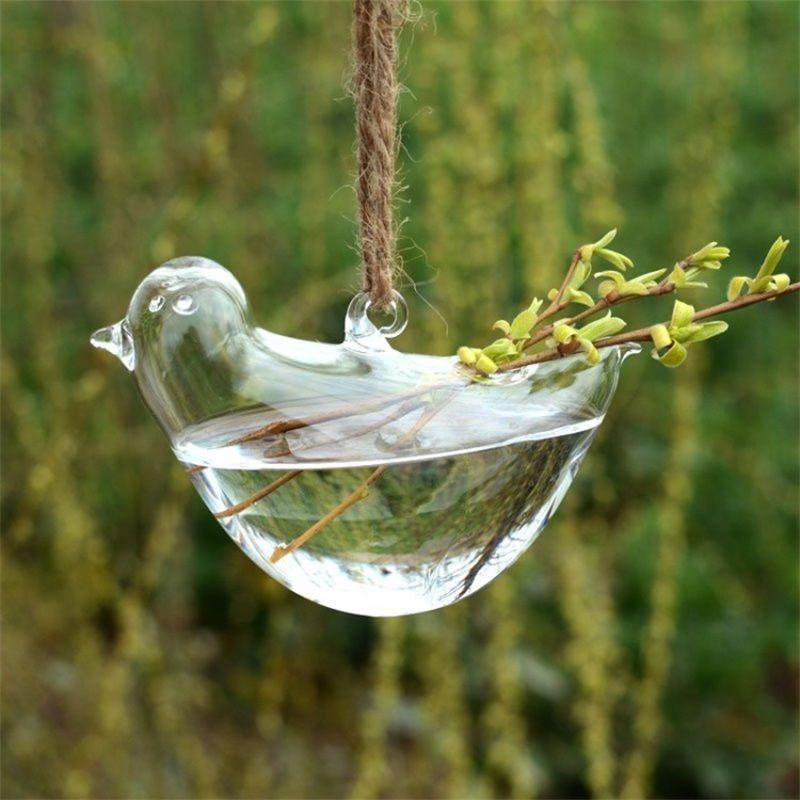 Originalité Oiseau Forme Vase Hydroponique Suspension Transparent Pot De Fleur En Verre Suspendus Plante D'eau Flowerpot Décor À La Maison Creative 8cs jj