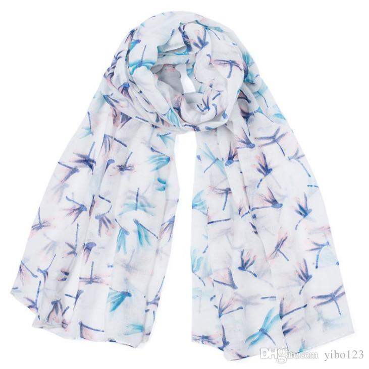 Women Fresh Animal Print Shawl White Beige Blue Flower Stripes Loop Scarf Soft Dragonfly Lovely Infinity Scarves
