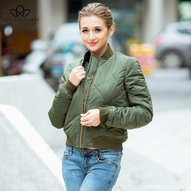 Quilting Bomber Jacket Women Spring Coat Zipper Short Short manga larga Chaqueta de invierno Slim algodón acolchado Prendas de abrigo