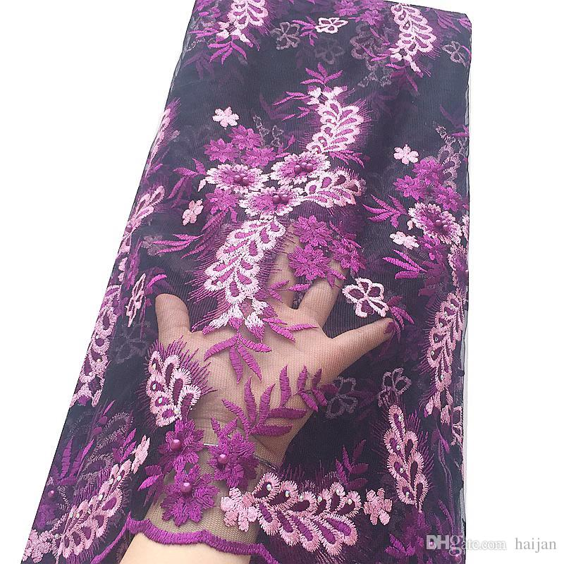 Magenta African 3D Lace Fabric 2019 Swiss Guipure Lace Fabric Materials Coral Net Tulle French Lace Fabric For Women Dresses