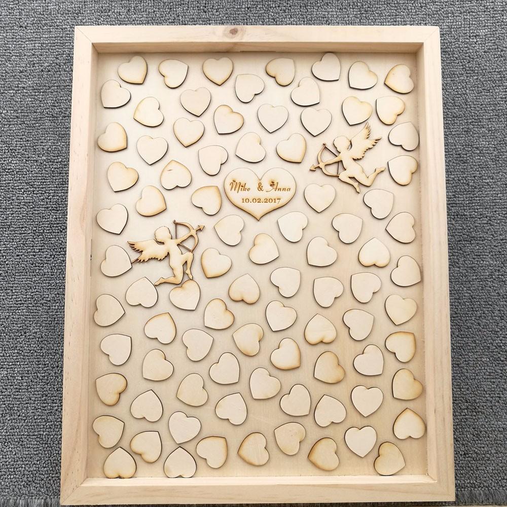 Livre de mariage en bois Signature livre personnalisé livre d'or mariage Cupidon cadeau de mariage boîte personnalisée Drop Top avec petits coeurs