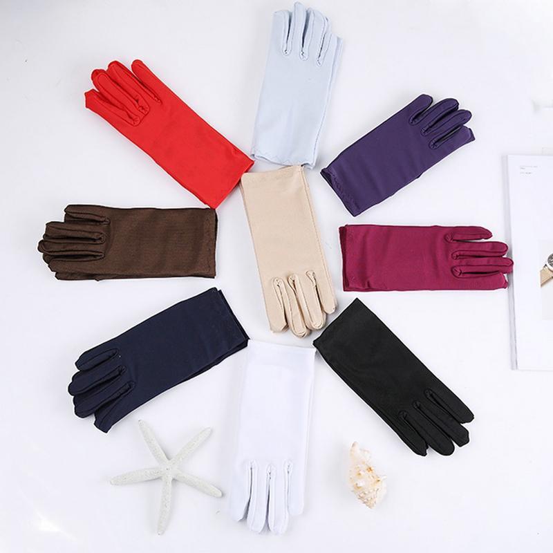 Cheap Mens Solid White Performance Gloves Short Waitor Gloves White Black Red Gray Beige Men Manner Ceremonial For Male