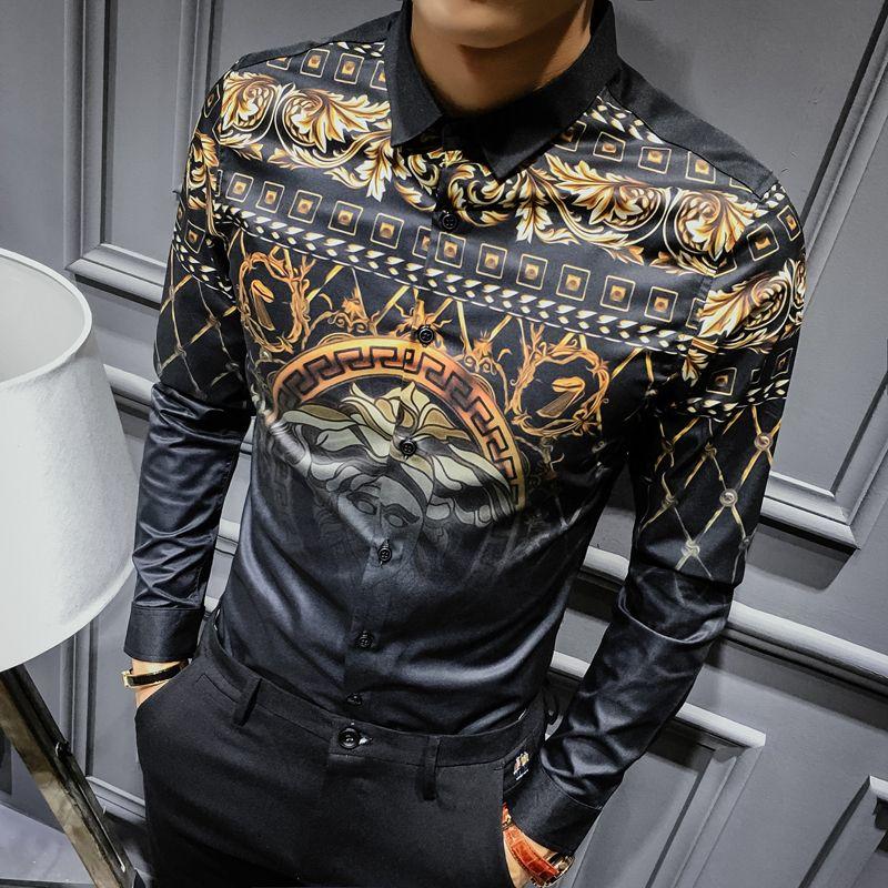 Herren Gold Shirts Social Club Shirt 2018 Herbst Luxus Barock Shirts Camisa Slim Fit Schwarz Gold Herren Designer-Shirts 3XL Y1892101