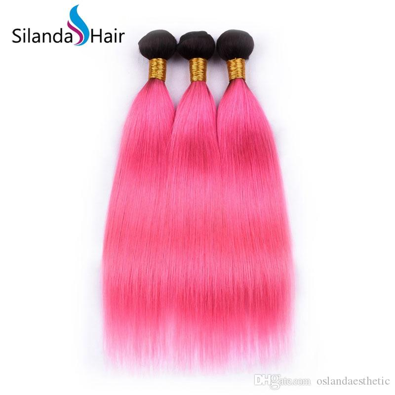 Escuro Root Colorido #T 1B / Rosa Cabelo trama Remy Cabelo Humano Hetero Pacotes cabelo 3pcs / lot frete grátis