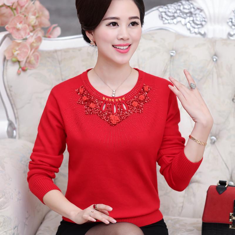 мода средний возраст женщины весна осень основной свитер мать одежда женский О-образным вырезом вязаный Алмаз свободные плюс размер пуловер s18100803