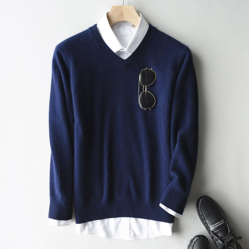Großhandel Solide Pullover V Ausschnitt Pullover Herren Langarmhemd Herren Pullover Freizeitkleidung Marke Kaschmir Strickwaren Pull Homme Soft