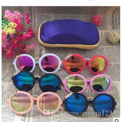 Moda 2018 gafas de sol del arco redondo de la decoración para niños de marca para niños Gafas de sol para chicos, chicas al bebé Eyewear Gafas Infantil fresco de 2913