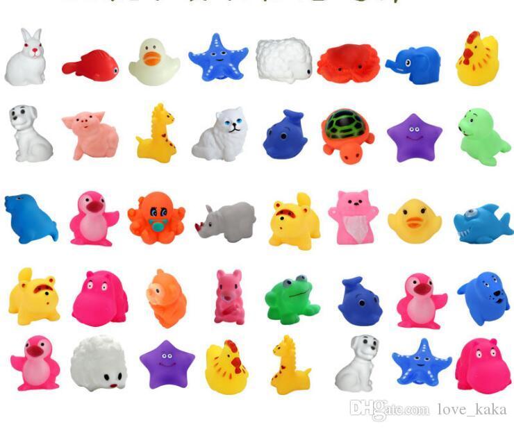 뜨거운 아기 목욕 장난감 물 오리 소리 미니 불가사리 코끼리 물고기 아이 목욕 작은 오리 장난감 수영 해변 선물 무료 배송